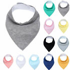 Newborn Infant Kids Cotton Baby Feeding Drinking Bib Snap On Triangular Towel Co
