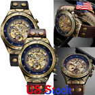 Mens Retro Leather Bronze Automatic Mechanical Watches Self Winding Transparen