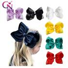 "8"" Handmade Solid Large Hair Bow For Girls Kids Grosgrain Ribbon Bow With Clips"