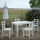 Table And 4 Chairs Set Wooden White Dining Room Garden Kitchen Home Furniture Uk