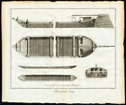 4 Antique Prints-CARPENTRY-CARPENTER-WOOD-SHIP BUILDING-BOATS-Diderot-1751