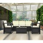 Rattan Outdoor Garden Sofa Furniture Love Bed Patio Sun Bed 4-5 Seater Black New