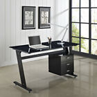 Computer Desk PC Table Office Furniture Black/White Glass Top and Sides Drawers