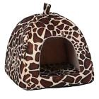 Soft Strawberry Leopard Pet Dog Cat House Tent Kennel Doggy Winter Warm Cushion