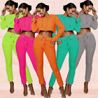 H3276 Women Sport Casual Sets Crop loose Hooded Top pencil Pant patchwork S-XL