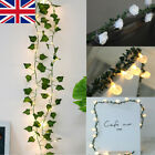 Uk Fairy Lights String 20 Led Ivy Leaf Rose Ball Wedding Xmas Party Home Decor