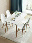 Retro Dining Table and Chairs 4 Set Wooden Legs Room Kitchen Lounge Chair White