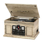Wood Finish Nostalgic Bluetooth Record Player with 3-speed Turntable with CD
