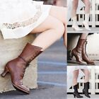 Women Pointed Toe Booties Mid-Calf Faux Leather Steampunk Strappy High Heel Boot