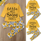 Toddler Baby Kids Girl Flower Clothes T-shirt Tops Long Pants Leggings Outfit US