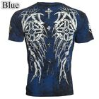 Archaic Men Casual Slim T-Shirt Cross Wings Tattoo Printed Biker Tops Men Tshirt image