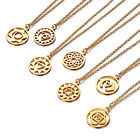 Yoga Symbol Meaning Pendant Necklace Gold Plated Titanium Steel Fitness Jewelry image