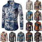 Mens Hippie Floral Buttons Down T-Shirt Casual Long Sleeve Slim Fit Shirts Tops image