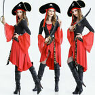 Pirate Costume Adult Halloween Fancy Dress Sexy Women Long Sleeve Cosplay