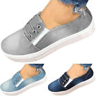 Womens Denim Canvas Pumps Slip On Flat Trainers Loafers Casual Sneakers Shoes