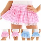 Women's School Uniform Mens Pleated Gingham Plaid A-line Mini Skirt Short Dress