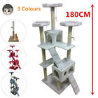 New 180cm Cat Tree Activity Centre Scratcher Scratching Post Sisal With Toys Bed