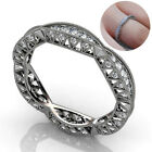 Unisex Hollow Rhinestone Inlaid Flower Carved Finger Ring Party Jewelry Code