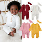 US Newborn Infant Baby Girl Boy Knitted Romper Jumpsuit 2PCS Outfits Set Clothes