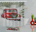 Cute Cats In Red Christmas Pickup Truck Winter Snow Shower Curtain Bathroom Mat