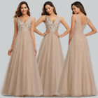 Ever-Pretty US Embroidery Deep V-Neck Evening Prom Dresses Wedding Cocktail Gown