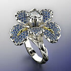 Women Luxury Full Rhinestone Inlaid Iris Flower Finger Ring Wedding Jewelry Code