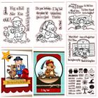 Happy Animals Bear Boy and Girl Clear Stamps Scrapbooking Stencil Craft Emboss