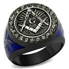MEN'S GRAY STAINLESS STEEL BLUE ENAMEL EPOXY CRYSTAL MASONIC RING SIZE 8-13