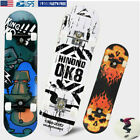 Adult Skateboard Black 31x7.75in Complete  Maple Deck Solid Youth Skateboards image
