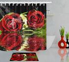 Valentine's Day Theme Shower Curtain Red Roses Reflection In Water Bathroom Mat