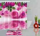 Pink Roses Water Drop Reflection In Water Shower Curtain Hook Bathroom Decor Mat