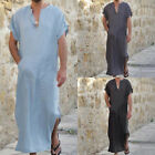 Kyпить Men Moroccan Arab Kaftan Kurta Shirt Long Thobe Gown Dishdasha Cotton Linen Robe на еВаy.соm