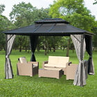 Outsunny 2-Tier Roof Steel Hardtop Aluminum Permanent Gazebo with Mesh