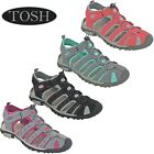 Walking Sandals Sports Sea Shoes Hiking Closed Toe Twin Strap Flat Womens TOSH