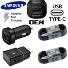 2X Original Samsung Adaptive Fast Charger Wall Type-C cable for S8 S9 S10 Note