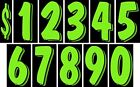 7 1/2 Inch Chartreuse Numbers Windshield Pricing Stickers Car Dealer You Pick