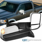 For 09-12 Ram 1500 Chrome Power Heat Auto Fold Tow Mirrors+LED Puddle & Signal