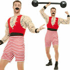 Mens Deluxe Strongman Costume - Fancy Dress Outfit Circus Showman Funny