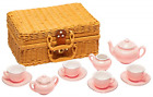 Childrens 13 Piece Porcelain Play Tea Set Wicker Style Basket Pink Fabric Lined
