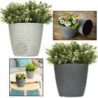 2 X Modern Plastic Flower Plant Pot Decorative Indoor Planter With Saucer Decor