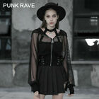 PUNK RAVE Women Short Wizard Hat Belted Coat Hollow Mesh Perspective Sexy Jacket