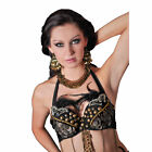 Women's Coin Charms Black Bra Gothic Belly Poi Fire Dancer Halloween Costume
