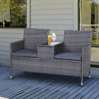 2 Seater Rattan Chair Garden Furniture Wicker Patio Love Seat Outdoor With Table
