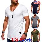Men's Muscle Slim Fit Short Sleeve Casual V Neck T-shirt Tops Basic Tee Blouse image