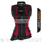 Gothic Overbust Steampunk Steel Boned Black Burgundy Satin Bolero Jacket Corset
