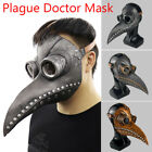 Plague Doctor Mask Halloween Costume Bird Long Nose Beak PU Leather Steampunk