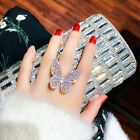 Luxurious Crystal Butterfly Open Knuckle Rings Women Charm Jewelry Adjustable US