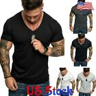Men Casual Fit Short Sleeve Slim Gym Muscle Bodybuilding T-shirt Tee Shirt Tops image