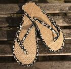 Ladies Straw Flip Flops Black Floral Small/Medium/Large
