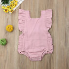 Newborn Baby Girl Ruffle Solid Romper Jumpsuit Bodysuit Clothes Outfit Summer